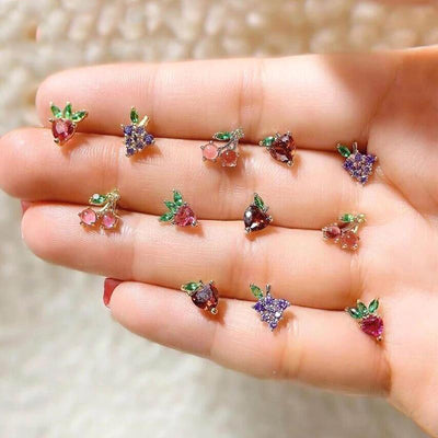 Cute Crystal Fruit Earring Studs - www.MyBodiArt.com #earrings