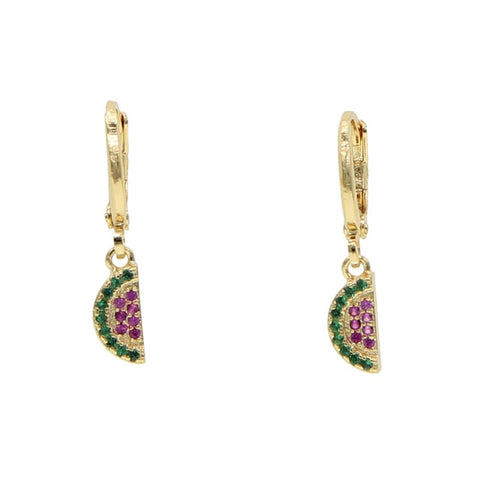 Cute Crystal Watermelon Gold Huggie Hoop Earrings - www.MyBodiArt.com