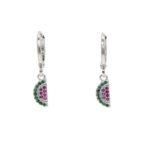 Cute Crystal Watermelon Silver Huggie Hoop Earrings - www.MyBodiArt.com