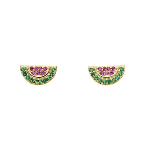 Cute Crystal Watermelon Gold Earrings Studs - www.MyBodiArt.com