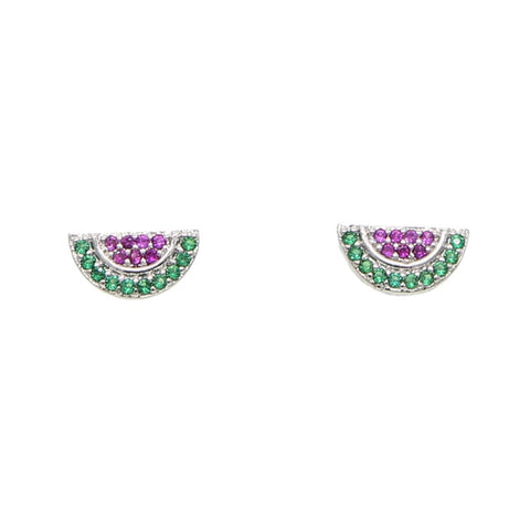 Cute Crystal Watermelon Silver Earrings Studs - www.MyBodiArt.com