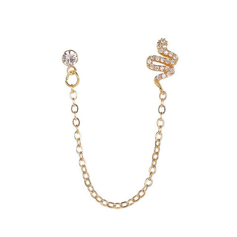 Aurora Crystal Unique Gold Chain Drop Earring