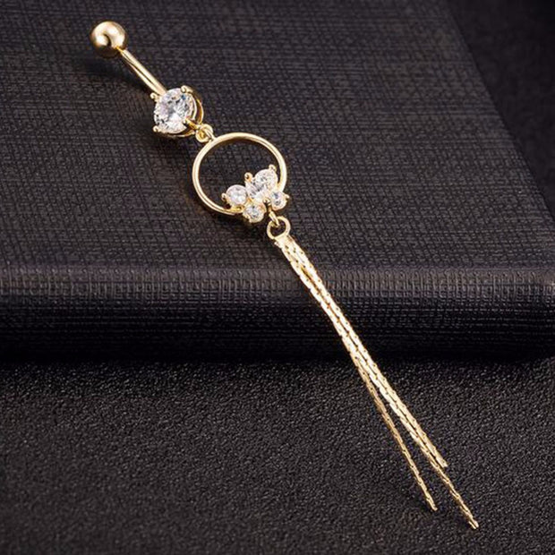 Gold Crystal Butterfly Dangle Belly Button Ring Piercing Navel Jewelry - www.MyBodiArt.com