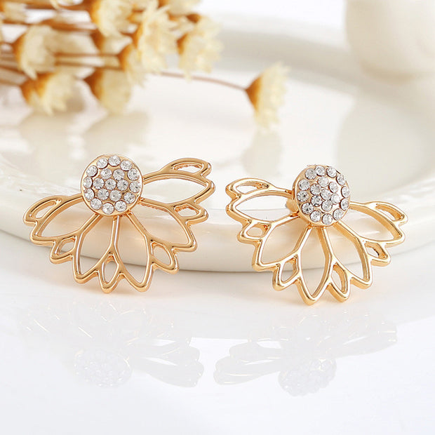 Gold Flower Earring Jacket for Women - MyBodiArt.com