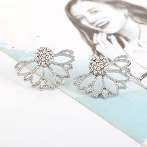 Silver Flower Earring Jacket for Women at MyBodiArt.com