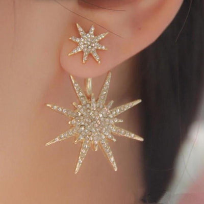 Gold Starburst Ear Jacket Earring at MyBodiArt.com