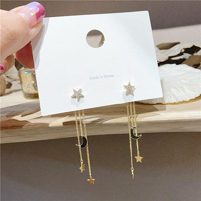 Cute Star Moon Gold Chain Dangle Earring Studs Fashion Jewelry for Women - www.MyBodiArt.com