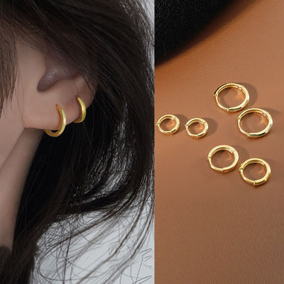 Simple Double Hoop Ear Lobe Ear Piercing Ideas Jewelry - www.MyBodiArt.com