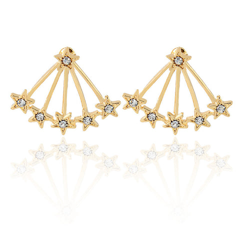 Halley Starburst Stars Ear Jacket Earring in Gold - Womens Jewelry Accessories