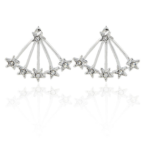 Halley Starburst Stars Ear Jacket Earring - Womens Jewelry Accessories - Silver