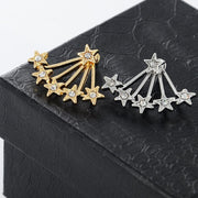 Halley Starburst Stars Ear Jacket Earring in Gold or Silver - Womens Jewelry Accessories