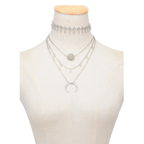 Moonbeam Layered Silver Choker Necklace at MyBodiArt.com