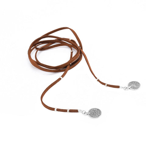 Meadow Medallion Coin Suede Wrap Choker Necklace - Brown at MyBodiArt.com