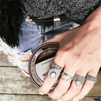 Boho Fashion Ring Set in Silver at MyBodiArt.com - Minimalistic Minimal Style