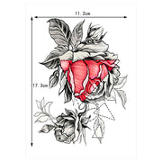 Sabella Geometric Black and Red Rose Temporary Tattoo