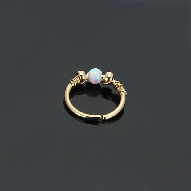 Andromeda Opal Ear Piercings 16G Seamless Rings - Cartilage Ring -  Helix Earring - Rook Jewelry - Daith Jewellery - Conch Piercing  - Tragus Ring - Septum Piercing - Nipple Ring at MyBodiArt.com