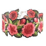 Julia Floral Flower Embroidered Choker Necklace at MyBodiArt.com