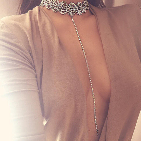 Evening Club Party Outfits - Crystal Rhinestone Crystal Choker Necklace at MyBodiArt.com