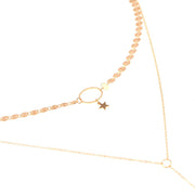 Mira Layered Star Choker Necklace with Square Bar Drop - Gold
