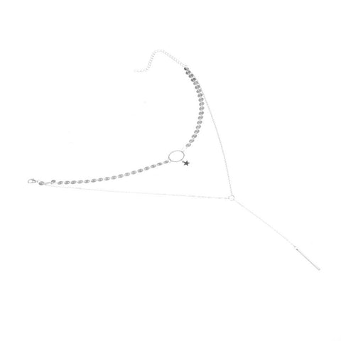 Mira Layered Star Choker Necklace with Square Bar Drop - Silver