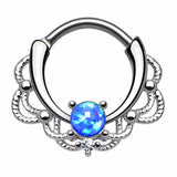 Lasha Opal 16G Septum Clicker Ring - Daith Rook Ear Piercing Earrings - MyBodiArt.com