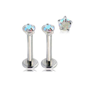 Swarovski Aurora Borealis Crystal Ear Piercing Jewelry for Tragus, Cartilage, Helix, Conch Earring at MyBodiArt.com