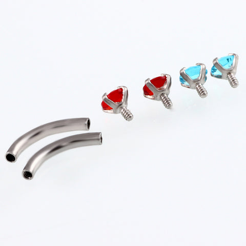 Alex Swarovski Internally Threaded Colored Crystal Curved 16G Barbell - Rook Piercing, Daith Earring, Lip Ring, Eyebrow Jewelry, Nipple Barbell at MyBodiArt.com