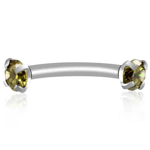 Olive Green Alex Swarovski Internally Threaded Colored Crystal Curved 16G Barbell - Rook Piercing, Daith Earring, Lip Ring, Eyebrow Jewelry, Nipple Barbell at MyBodiArt.com