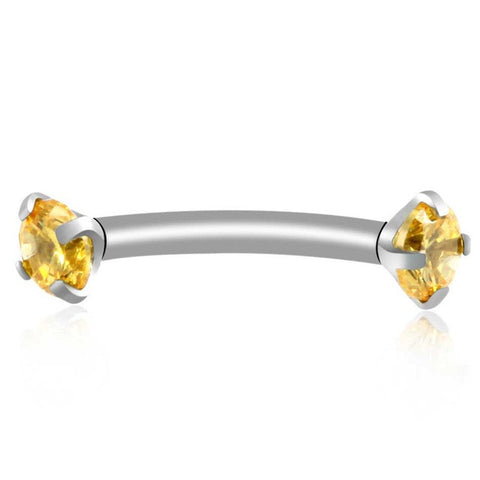 Yellow Alex Swarovski Internally Threaded Colored Crystal Curved 16G Barbell - Rook Piercing, Daith Earring, Lip Ring, Eyebrow Jewelry, Nipple Barbell at MyBodiArt.com