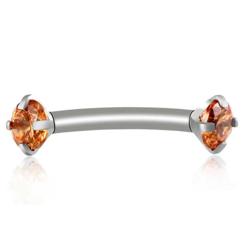 Champage Orange Alex Swarovski Internally Threaded Colored Crystal Curved 16G Barbell - Rook Piercing, Daith Earring, Lip Ring, Eyebrow Jewelry, Nipple Barbell at MyBodiArt.com