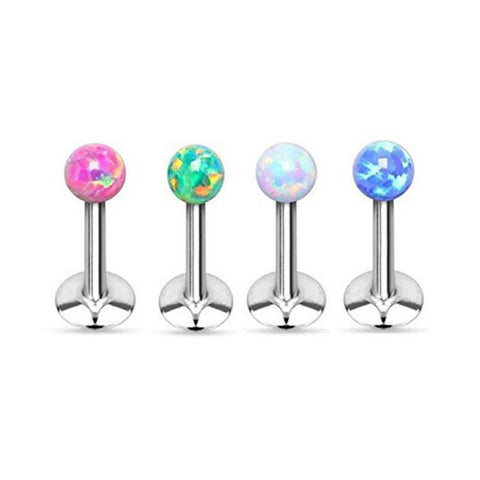 Beautiful Opal Piercing Jewelry - Andromeda Opal Ball 16G Silver Barbell Ear Piercing Jewelry - Cartilage Earring, Tragus Stud, Triple Forward Helix Jewelry - Labret Barbell - Medusa Piercing at MyBodiArt.com