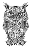 Horned Black Tribal Owl Temporary Tattoo Sheet at MyBodiArt.com