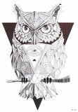 Geometric Horned Black Tribal Owl Temporary Tattoo Sheet at MyBodiArt.com