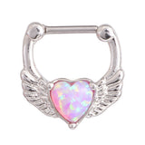 Aura Pink Opal Heart Septum Piercing Jewelry Clicker at MyBodiArt.com