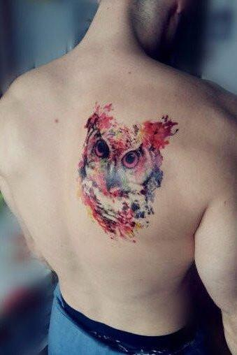 Watercolor Owl Tattoo Ideas Back Shoulder for Men for Women at MyBodiArt.com