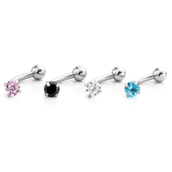 Set of 4 Piercings - Arora Swarovski Crystal 16G Curved Barbell Rook Piercing, Daith Earring, Lip Ring, Eyebrow Jewelry, Nipple Barbell at MyBodiArt.com