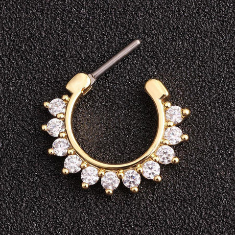 Brice Swarovski Crystal Septum Daith Clicker in Silver Ring Hoop Earring Jewelry 16G in Gold  - www.MyBodiArt.com