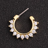 BRICE SWAROVSKI CRYSTAL SEPTUM CLICKER 16G DAITH ROOK EARRING - Gold and Clear Crystals