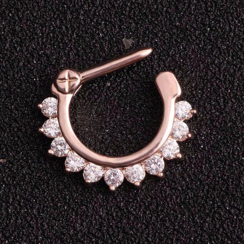 Brice Swarovski Crystal Septum Daith Clicker in Silver Ring Hoop Earring Jewelry 16G in Rose Gold  - www.MyBodiArt.com