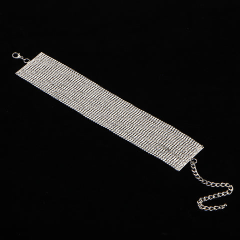 Pleuvoir Crystal Layered Chain Choker Statement Necklace in Silver or Gold at MyBodiArt.com