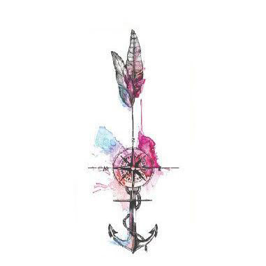 Wayfair Watercolor Compass Arrow Anchor Temporary Tattoo