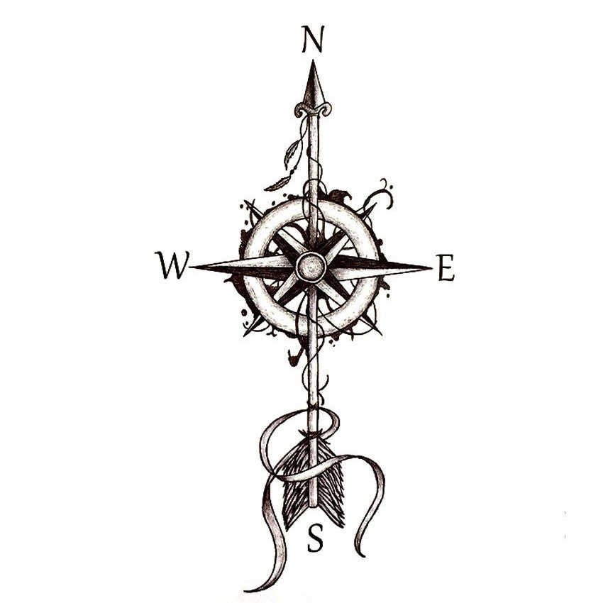 Compass Tattoo Line Drawing : Wanderlust compass arrow temporary tattoo mybodiart
