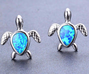 Turtle Earring Studs in Silver with Blue Opal - www.MyBodiArt.com