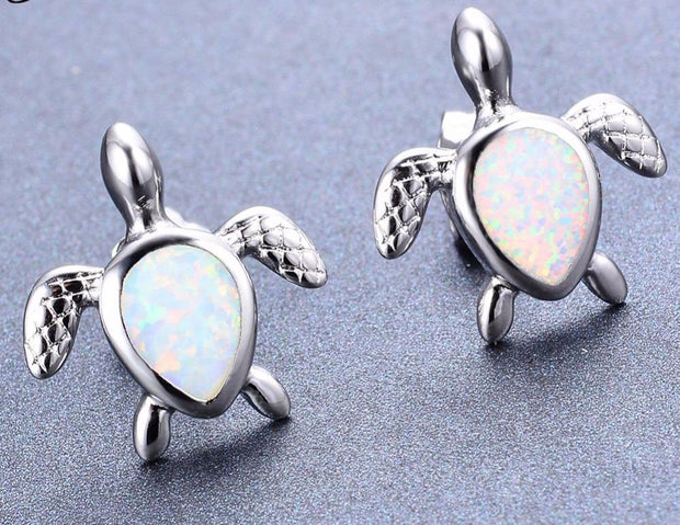 Turtle Earring Studs in Silver with White Opal - www.MyBodiArt.com