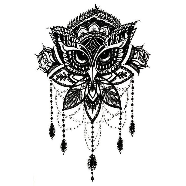 Tribal Cool Owl Mandala Chandelier Black Henna Temporary Tattoo Design Sheet Art for Women - www.MyBodiArt.com