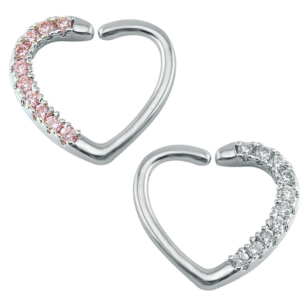 Amore Crystal Heart Daith & Rook Ear Piercing Cartilage Helix Earring - Clear and Pink