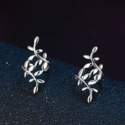 Birchy Silver Leaves Ear Cuff at MyBodiArt.com