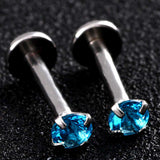 Alva Swarovski Internally Threaded Crystal 16G Silver Barbell - Labret Piercing, Cartilage Stud, Tragus Earring, Helix Barbell, Medusa - Blue Crystals
