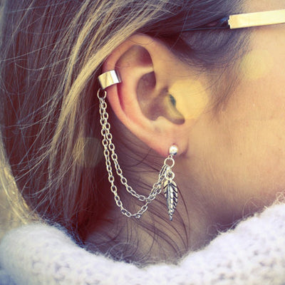 Cute Ear Piercing Ideas Ivy Ear Cuff Chain Leaf Earrings at MyBodiArt.com