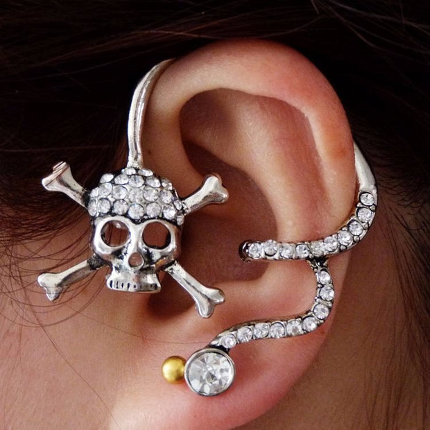 Cool and Unique Ear Piercing Ideas - Captain Patch Crystal Pirate Skull Ear Cuff Earring in Silver at MyBodiArt.com